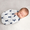 Woodland Deer Baby Boy Swaddle Blanket Jersey Stretch Knit for Newborn or Infant Receiving Security by Sweet Jojo Designs - Navy Blue and White Forest Animal Stag Antler