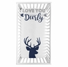 Woodland Deer Boy Fitted Crib Sheet Baby or Toddler Bed Nursery Photo Op by Sweet Jojo Designs - Navy Blue and White Stag