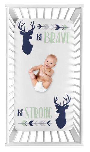 Woodland Deer Boy Fitted Crib Sheet Baby or Toddler Bed Nursery Photo Op by Sweet Jojo Designs - Navy Blue, Mint and Grey Woodsy Arrow Be Brave Be Strong - Click to enlarge