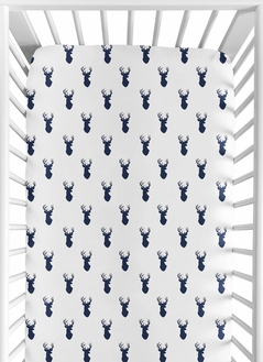 Woodland Deer Boy Jersey Stretch Knit Baby Fitted Crib Sheet for Soft Toddler Bed Nursery by Sweet Jojo Designs - Navy Blue and White Forest Animal Stag Antler