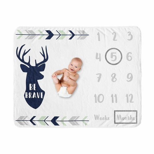 Woodland Deer Boy Milestone Blanket Monthly Newborn First Year Growth Mat Baby Shower Gift Memory Keepsake Picture by Sweet Jojo Designs - Navy Blue, Mint and Grey Woodsy Forest Arrow Be Brave - Click to enlarge