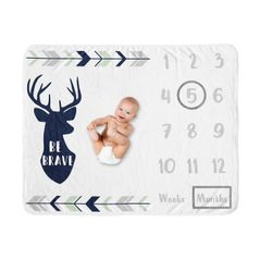 Woodland Deer Boy Milestone Blanket Monthly Newborn First Year Growth Mat Baby Shower Gift Memory Keepsake Picture by Sweet Jojo Designs - Navy Blue, Mint and Grey Woodsy Forest Arrow Be Brave
