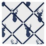 Navy and White Woodland Deer Fabric Memory/Memo Photo Bulletin Board by Sweet Jojo Designs