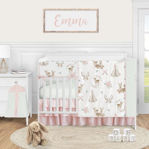 Woodland Deer Floral Baby Girl Nursery Crib Bedding Set by Sweet Jojo Designs - 5 pieces - Blush Pink Mint Green and White Boho Watercolor - Click to enlarge