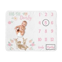 Woodland Deer Girl Milestone Blanket Monthly Newborn First Year Growth Mat Baby Shower Gift Memory Keepsake Picture by Sweet Jojo Designs - Blush Pink and Mint Green Boho Watercolor Forest Love You Deerly