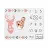 Woodland Deer Girl Milestone Blanket Monthly Newborn First Year Growth Mat Baby Shower Memory Keepsake Gift Picture by Sweet Jojo Designs - Coral Pink Mint Green and Grey Woodsy Arrow Forest Animal Be Brave