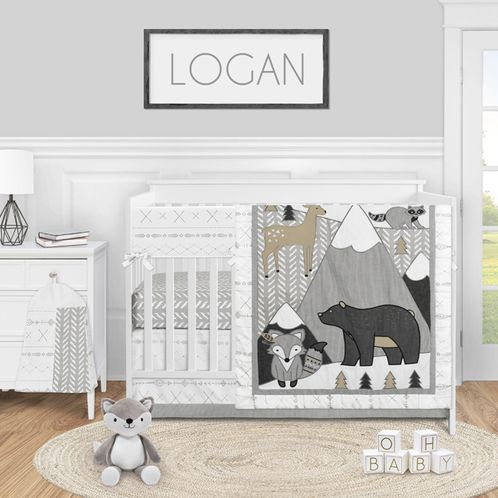 Woodland Forest Animal Baby Boy or Girl Nursery Crib Bedding Set by Sweet Jojo Designs - 5 pieces - Beige Grey and White Boho Mountain Deer Fox Bear - Click to enlarge