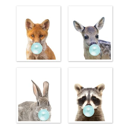 Woodland Forest Animal Wall Art Prints Room Decor for Baby, Nursery, and Kids by Sweet Jojo Designs - Set of 4 - Fox, Deer, Bunny, Raccoon Blue Bubble Gum - Click to enlarge