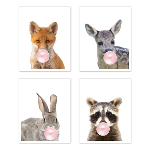 Woodland Forest Animal Wall Art Prints Room Decor for Baby, Nursery, and Kids by Sweet Jojo Designs - Set of 4 - Fox, Deer, Bunny, Raccoon Pink Bubble Gum - Click to enlarge