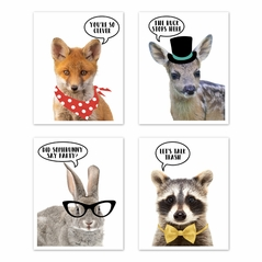 Woodland Forest Animal Wall Art Prints Room Decor for Baby, Nursery, and Kids by Sweet Jojo Designs - Set of 4 - Fox, Deer, Bunny, Raccoon You're so Clever