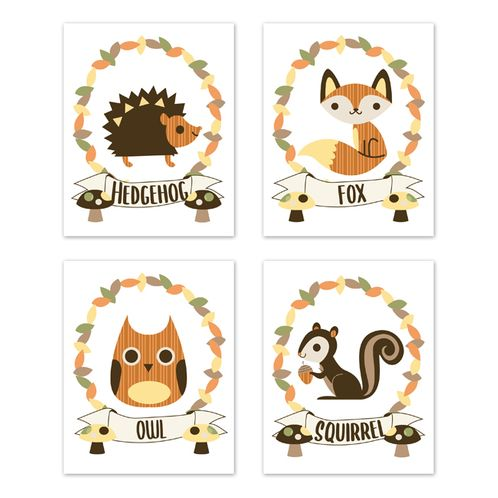 Woodland Forest Animal Wall Art Prints Room Decor for Baby, Nursery, and Kids by Sweet Jojo Designs - Set of 4 - Yellow, Orange, Green Leaf Rustic Owl Fox Hedgehog Squirrel Friends - Click to enlarge
