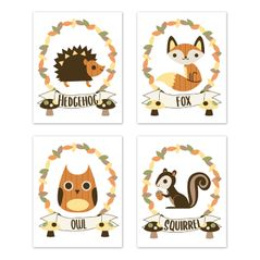 Woodland Forest Animal Wall Art Prints Room Decor for Baby, Nursery, and Kids by Sweet Jojo Designs - Set of 4 - Yellow, Orange, Green Leaf Rustic Owl Fox Hedgehog Squirrel Friends