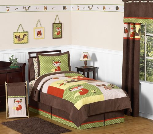 Woodland Forest Animals Children's Bedding - 3 pc Full / Queen Set by Sweet Jojo Designs - Click to enlarge