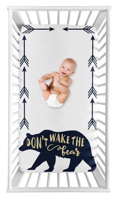 Woodland Forest Bear Boy Fitted Crib Sheet Baby or Toddler Bed Nursery Photo Op by Sweet Jojo Designs - Navy Blue and Gold Arrow Big Bear Collection