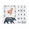 Woodland Forest Bear Boy Milestone Blanket Monthly Newborn First Year Growth Mat Baby Shower Memory Keepsake Gift Picture by Sweet Jojo Designs - Navy Blue and Gold Arrow Big Bear Collection Growing Beary Fast