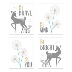 Woodland Forest Deer Wall Art Prints Room Decor for Baby, Nursery, and Kids by Sweet Jojo Designs - Set of 4 - Grey and White Animal Dandelion Floral Flower