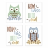 Woodland Forest Owls Wall Art Prints Room Decor for Baby, Nursery, and Kids by Sweet Jojo Designs - Set of 4 - Green, Blue and Brown Birds Leaves Gender Neutral