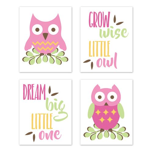 Woodland Forest Owls Wall Art Prints Room Decor for Baby, Nursery, and Kids by Sweet Jojo Designs - Set of 4 - Pink, Green, and Yellow Birds Leaves - Click to enlarge