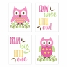 Woodland Forest Owls Wall Art Prints Room Decor for Baby, Nursery, and Kids by Sweet Jojo Designs - Set of 4 - Pink, Green, and Yellow Birds Leaves