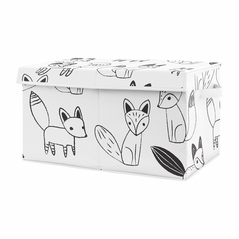 Woodland Fox Boy or Girl Small Fabric Toy Bin Storage Box Chest For Baby Nursery or Kids Room by Sweet Jojo Designs - Gender Neutral Black and White Forest Animal