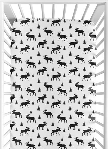 Woodland Moose Boy Jersey Stretch Knit Baby Fitted Crib Sheet for Soft Toddler Bed Nursery by Sweet Jojo Designs - Black and White Forest Animal Rustic Patch - Click to enlarge