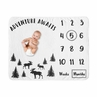 Woodland Moose Boy Milestone Blanket Monthly Newborn First Year Growth Mat Baby Shower Gift Memory Keepsake Picture by Sweet Jojo Designs - Black and White Forest Adventure Awaits Rustic Patch