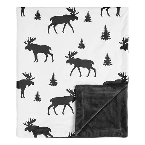 Woodland Moose Rustic Patch Baby Boy Receiving Security Swaddle Blanket for Newborn or Toddler Nursery Car Seat Stroller Soft Minky by Sweet Jojo Designs - Black and White - Click to enlarge