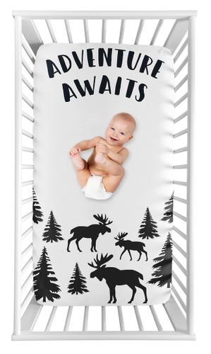Woodland Moose Boy Fitted Crib Sheet Baby or Toddler Bed Nursery Photo Op by Sweet Jojo Designs - Black and White Adventure Awaits Rustic Patch - Click to enlarge