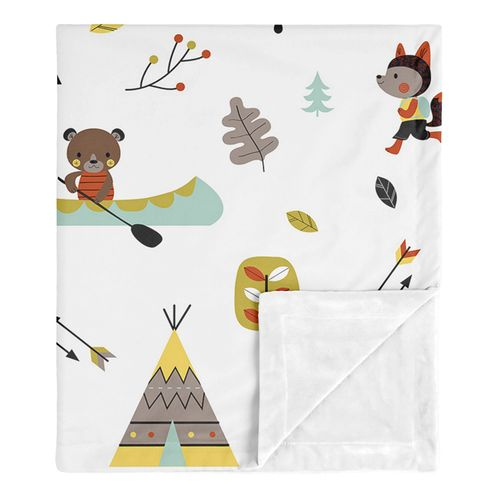 Woodland Outdoor Adventure Baby Boy or Girl Receiving Security Swaddle Blanket for Newborn or Toddler Nursery Car Seat Stroller Soft Minky by Sweet Jojo Designs - Aqua and Yellow - Click to enlarge