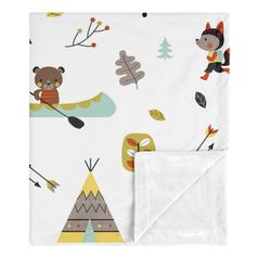 Woodland Outdoor Adventure Baby Boy or Girl Receiving Security Swaddle Blanket for Newborn or Toddler Nursery Car Seat Stroller Soft Minky by Sweet Jojo Designs - Aqua and Yellow