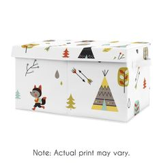 Woodland Outdoor Adventure Boy or Girl Small Fabric Toy Bin Storage Box Chest For Baby Nursery or Kids Room by Sweet Jojo Designs - Aqua and Yellow Bear Fox
