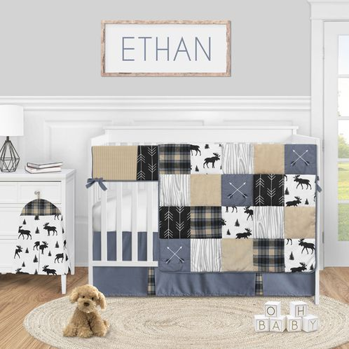 Woodland Plaid Arrow Baby Boy Nursery Crib Bedding Set by Sweet Jojo Designs - 5 pieces - Blue Tan and Grey Black Moose Rustic Patch - Click to enlarge