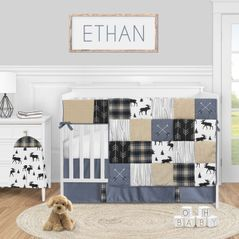 Woodland Plaid Arrow Baby Boy Nursery Crib Bedding Set by Sweet Jojo Designs - 5 pieces - Blue Tan and Grey Black Moose Rustic Patch