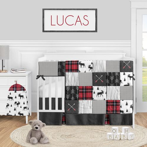 Woodland Plaid Arrow Baby Boy Nursery Crib Bedding Set by Sweet Jojo Designs - 5 pieces - Red and Black Moose Rustic Patch - Click to enlarge