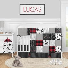Woodland Plaid Arrow Baby Boy Nursery Crib Bedding Set by Sweet Jojo Designs - 5 pieces - Red and Black Moose Rustic Patch