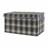 Woodland Plaid Flannel Boy Small Fabric Toy Bin Storage Box Chest For Baby Nursery or Kids Room by Sweet Jojo Designs - Blue and Tan Rustic Patch Collection