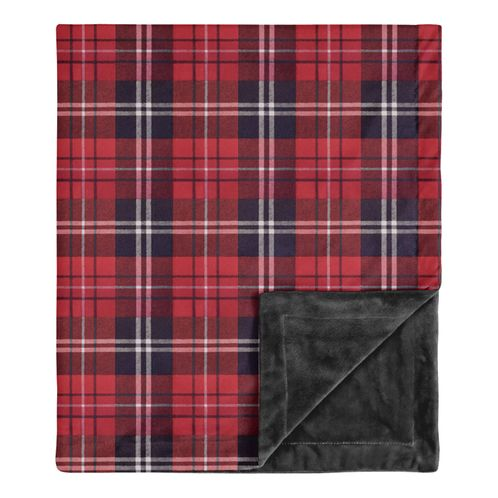 Woodland Plaid Flannel Rustic Patch Baby Boy Receiving Security Swaddle Blanket for Newborn or Toddler Nursery Car Seat Stroller Soft Minky by Sweet Jojo Designs - Red and Black - Click to enlarge
