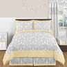 Yellow and Gray Avery Childrens and Kids Bedding - 3pc Full / Queen Set by Sweet Jojo Designs