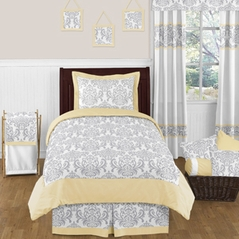 Yellow and Gray Avery Childrens and Kids Bedding - 4pc Twin Set by Sweet Jojo Designs