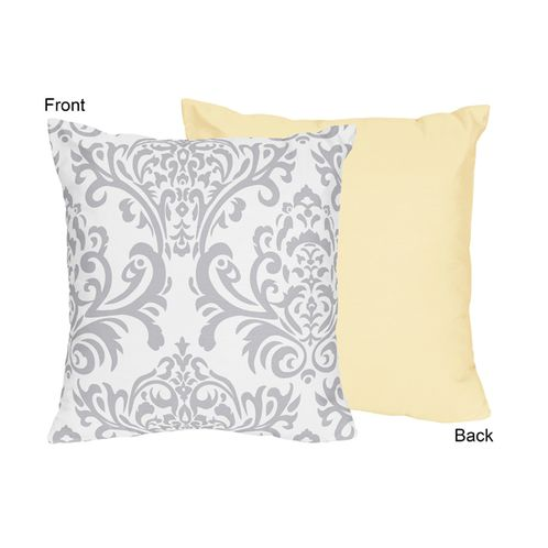 Yellow and Gray Avery Decorative Accent Throw Pillow by Sweet Jojo Designs - Click to enlarge