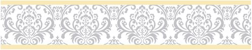 Yellow and Gray Avery Kids and Baby Modern Wall Paper Border by Sweet Jojo Designs - Click to enlarge