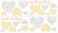 Yellow and Gray Avery Peel and Stick Wall Decal Stickers Art Nursery Decor by Sweet Jojo Designs - Set of 4 Sheets