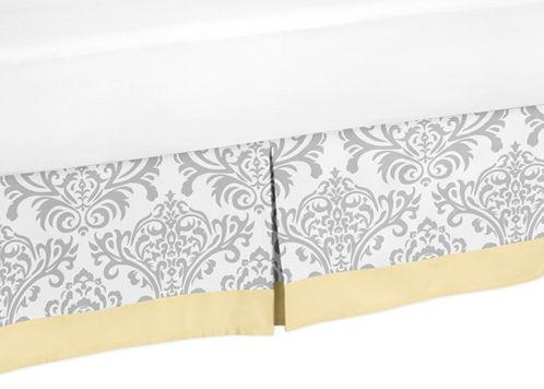 Yellow and Gray Avery Queen Bed Skirt for Childrens Teen Bedding Sets by Sweet Jojo Designs - Click to enlarge
