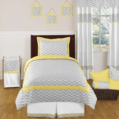 Yellow and Gray Chevron Zig Zag Childrens and Kids Bedding - 4pc Twin Set by Sweet Jojo Designs