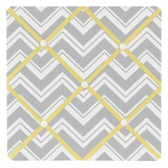 Yellow and Gray Chevron Zig Zag Fabric Memory/Memo Photo Bulletin Board by Sweet Jojo Designs