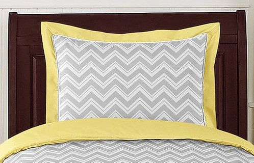Yellow and Gray Chevron Zig Zag Pillow Sham by Sweet Jojo Designs - Click to enlarge