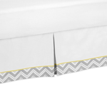 Yellow and Gray Chevron Zig Zag Queen Bed Skirt for Childrens Teens Bedding Sets by Sweet Jojo Designs