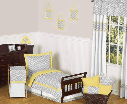 Yellow and Gray Chevron Zig Zag Toddler Bedding - 5pc Set by Sweet Jojo Designs - Click to enlarge