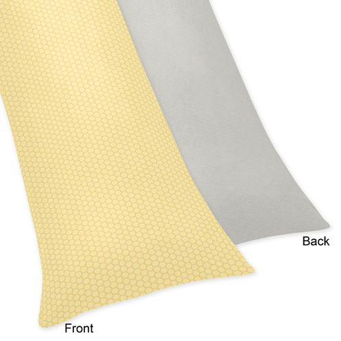Yellow and Gray Honey Bee Full Length Double Zippered Body Pillow Case Cover - Click to enlarge