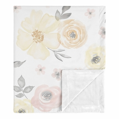 Yellow and Pink Watercolor Floral Baby Girl Blanket Receiving Security Swaddle for Newborn or Toddler Nursery Car Seat Stroller Soft Minky by Sweet Jojo Designs - Blush Peach Orange Cream Grey and White Shabby Chic Rose Flower Farmhouse